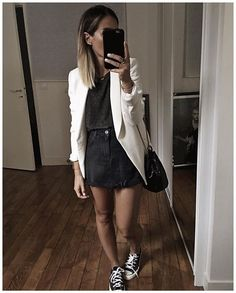 24 Trendy Ideas For Skirt Black Tights Formal Winter Outfits, Hot Fall Outfits, Casual Outfits, Classic Outfits, Black Denim Skirt Outfit, Denim Skirt Outfits, Mode Outfits, Fashion Outfits, Look Blazer
