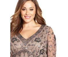 Adrianna Papell Illusion Yoke Long Beaded Gown (Plus Size ...