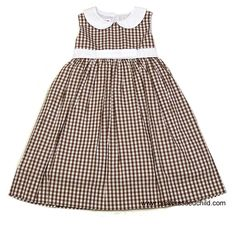 Betti Terrell Girls Chocolate Brown Check Sleeveless Dress with Collar and Bow