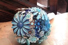 SMALL BLUE, AQUA & TURQUOISE VINTAGE HEIRLOOM BOUQUET