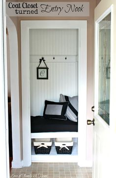 My Sister's New House & A Coat Closet Turned Entry Nook.{Entry Makeover} - Love of Family & Home Small Coat Closet, Front Closet, Entry Closet, Hall Closet, Closet Office, Closet Mudroom, Closet Bench, Office Nook, Closet Nook