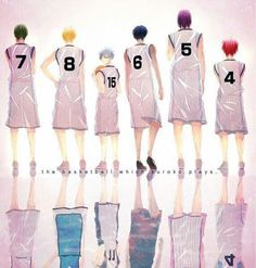 Midorima, Kise, Kuroko, Aomine, Murasakibara and Akashi from Kuroko no Basket - their uniform from Middle School as the Generation of Miracles and their uniform as members of separate teams in Senior School