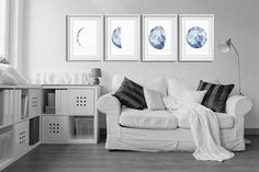 Moon Poster Full Moon Watercolor Painting Minimalist Decor