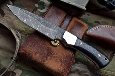 Custom Handmade Hammered Damascus Hunting Bushcraft Camp Micarta Knife by ComeandTakeThem on Etsy