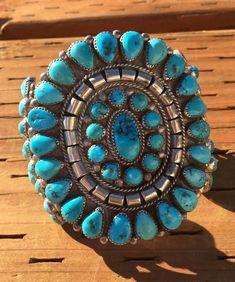 Large Native American Navajo Sterling Silver Natural Turquoise Cluster Bracelet #Cluster
