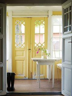 home sweet home. so shabby chic.love the yellow doors! Painted Interior Doors, Painted Doors, Interior Painting, Wood Doors, Reclaimed Doors, Barn Doors, Home Interior, Interior Design, Yellow Interior