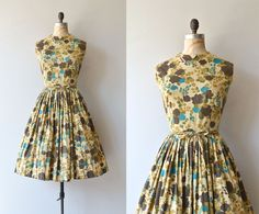 Forest Floor dress vintage 1950s dress floral by DearGolden Vintage 1950s, early 1960s autumn floral cotton dress with notched collar, sleeveless bodice, fitted waist, full skirt, tie belt and metal zipper.  brand/maker: Stacy Ames