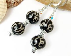 Om Earrings Tibetan Beads with Mantra Symbolic by PrettyGonzo