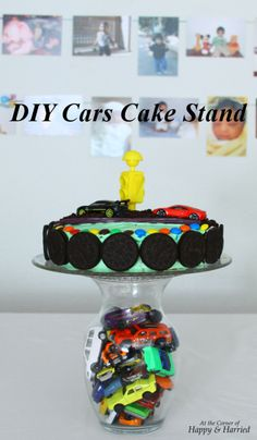 DIY cars cake stand - Easy and thrifty birthday party ideas - so many possibilities - could fill with vase filler jewels, cars or flowers, anything to fit the theme! Hot Wheels Party, Bolo Hot Wheels, Hot Wheels Birthday, Race Car Birthday, Race Car Party, Themed Birthday Cakes, 3rd Birthday, Race Cars, Hot Wheels Cake