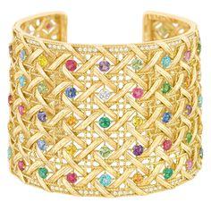 Dior - Cuff Bracelet - 18K yellow gold, diamonds, and precious gemstones