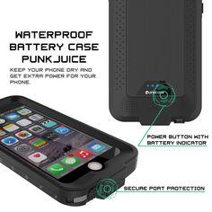 PunkJuice iPhone 6/6s Battery Case Black - Waterproof Slim Portable Power Juice Bank with 2750mAh High Capacity - Fastcharging - 120% Extra Battery Life - 3 Year EXCHANGE WARRANTY ★ PUNKJUICE YOUR iPHONE 6: Never again get punked by a dead battery! Waterproof, dirt proof, drop proof and snow proof plus a SLIM & SLEEK DESIGN that perfectly follows iPhone's precision lines make Punkjuice THE ULTIMATE POWER CASE.