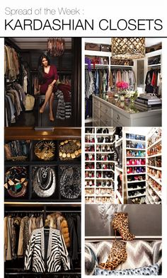 Spread Of The Week : #kardashian closets, featuring Kim & Khloe's amazing dressing rooms. #homedecor from Mountain Home Decor in Whistler, BC. Visit our blog! www.mountainhomedecor.wordpress.com