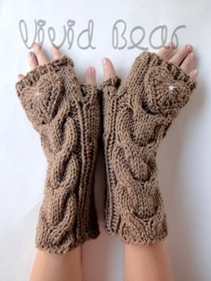 Heart Knitted Cabled Fingerless Gloves with Rhinestone Crystals. 44 Colors. Valentine Day Gift. Warm Accessory for Women and Teens. by VividBear on Etsy