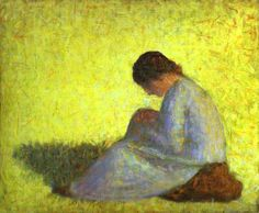 """guggenheim-art: """" Peasant Woman Seated in the Grass by Georges Seurat, Guggenheim Museum Size: cm Medium: Oil on canvas Solomon R. Guggenheim Museum, New York Solomon R. Guggenheim Founding Collection, By. Georges Seurat, Toulouse, Wassily Kandinsky, Seurat Paintings, Impressionist Paintings, Manet, Art Moderne, Gustav Klimt, Claude Monet"""