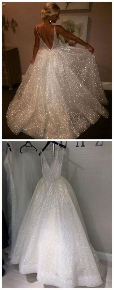 Bohoprom shining v-neck ball gown prom dress, made of tulle and adorned with beading, formal prom dresses long, #formaldress #bohoprom