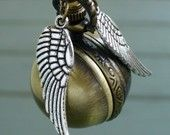 steampunk pocket watch Necklace key pirate Victorian locket pendant charm Enchanted FLYING BALL WATCH necklace---M-A-G-I-C-A-L edition