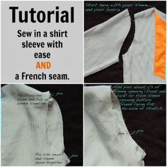 Sewing Like Mad: Sew in a shirt sleeve with ease and a French seam. #tutorial