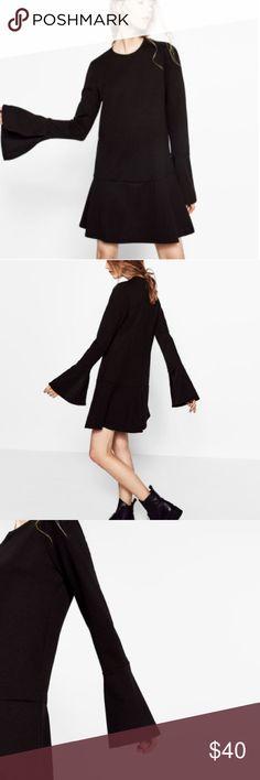 Zara Black Dress With Frill Sleeves Brand new with tags. Adorable black ZARA dress with stylish sleeves. Zara Dresses