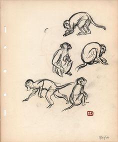 Marc Davis' monkey sketches :3 Deja View blog