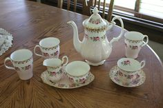 Royal Albert bone china set, pink roses, gold trim, coffee chocolate pot, lot | eBay