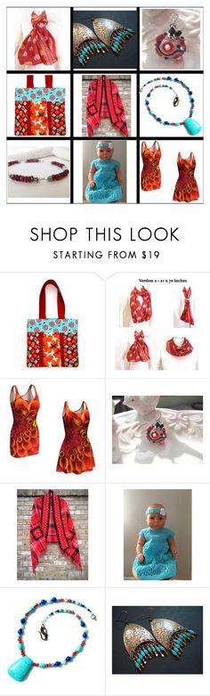 """Turquoise & Red"" by belladonnasjoy ❤ liked on Polyvore"