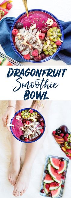 How to Make a Pitaya Bowl with Dragonfruit Puree - Colorful Smoothie Bowl Dragonfruit Topped with Fresh Fruit Recipe Fruit Smoothies, Healthy Smoothies, Smoothie Recipes, Breakfast Smoothies, Healthy Drinks, Fruit Recipes, Brunch Recipes, Healthy Recipes, Breakfast Recipes