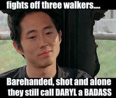 The Walking Dead funny meme. I think Glenn was bit and just didn't say anything...