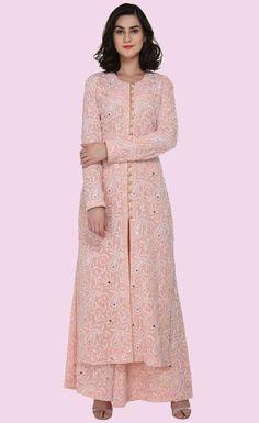 Pastel Peach Chikankari Kamdani & Mirror Work Sharara Pants Suit