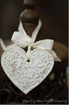 Air dried Fimo Clay heart ornament. This would be a sweet seating decoration. #wedding #ornament
