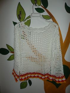 Remera calada al crochet en hilo de algodon combinada mangas largas