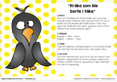Fortellerkort – Kråka som ble borte i tåka – Begynneropplæring med Runar School Subjects, Kraken, Second Grade, Grammar, Norway, Preschool, Language, Teaching, Writing