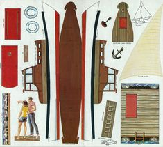 Not quite paper dolls, but I am a sailor and found this set of paper boats just charming. Copyright is 1959 by Golden press. Plywood Boat Plans, Wooden Boat Plans, Cardboard Paper, Paper Toys, Cardboard Crafts, Papercraft Anime, Duck Blind Plans, Missing Missy, Paper Art
