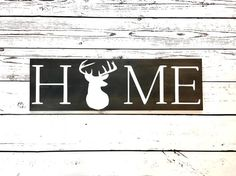 Home sign with Deer Silhouette Rustic home deer decor Deer buck antlers Deer head Wall decor Wood sign gift for hunter Hunting themed Deer Decor, Rustic Wall Decor, Rustic Walls, Wooden Signs With Quotes, Homemade Wood Signs, Family Wood Signs, Deer Silhouette, Picture Hangers, Deer Antlers