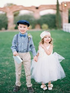 Adorable flower girl and ring-bearer in vintage-inspired fashions! #wedding #style
