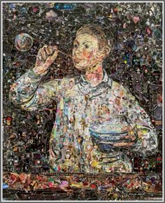 Brazilian-born Brooklyn-based artist Vik Muniz recrates famous paintings by Van Gogh, Manet, Cézanne and other artists using thousands of torn magazine scraps cut from popular magazines. Art Du Collage, Painting Collage, Paintings, Van Gogh, Modern Art, Contemporary Art, Brooklyn, Magazine Collage, Surrealism Painting