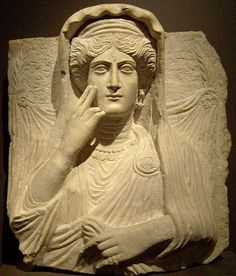 theancientworld:  A limestone funerary relief bust of Haliphat, a fashionable bejeweled woman of Palmyra's prosperous merchant class who died in 231  CE. Washington, DC, Smithsonian: Freer-Sackler Gallery