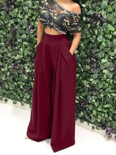 Fashion Crushes Wine Red Pockets High Waisted Fashion Long Wide Leg Pants Do You Know Your Parenting Moda Professor, Fashion Pants, Fashion Dresses, Fashion Sandals, Classy Outfits, Cute Outfits, Looks Black, Wide Leg Pants, Long Pants