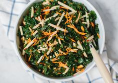 Kale Slaw 4-6 servings 1 head kale - remove stems & thinly slice 1 julienned apple, 1 shredded carrot, raisins, toasted slivered almonds. Drizzle w/ EVOO, fresh lemon juice, salt, black pepper