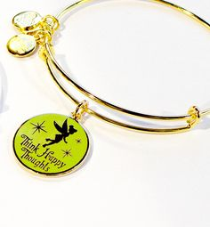 Disney Parks Words Are Powerful : Tinker Bell Happy Thoughts Bangle Bracelet by Alex and Ani Gold Finish Expandable for perfect fit Enamel cloisonné ''Awaken Your Heart'' charm Energy, Made with Love,
