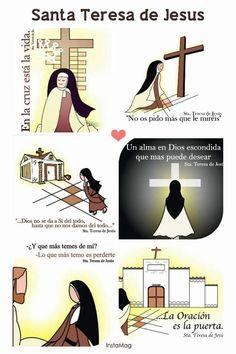 Saint Teresa Of Avila, Patron Saints, Gods Love, Geo, My Eyes, Religion, Heart, Line, Craft