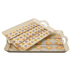 Set of two patterned wood trays with side handles.  Product: Small and large trayConstruction Material: WoodColor: Natural and multiDimensions: 2.5 H x 18 W x 12 D (large)Cleaning and Care: Dust with dry cloth