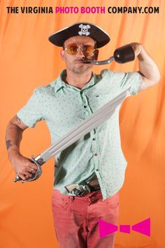 crazy pirate in the photo booth, www.thevirginiaphotoboothcompany.com