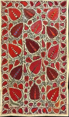 176.   Sold ..Just purchased this wonderful new strawberry design Uzbek Suzani! Love it, the detail and workmanship is fantastic, let us know if you love it too!