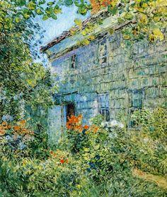 Walk Around the Island - Childe Hassam - Old House and Garden East Hampton-1898-