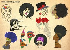 Pretty women embroidery designs PACK of 10 - downloadable by EmbroSoft on Etsy