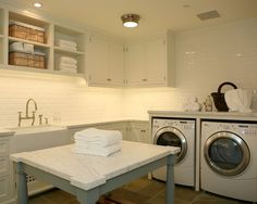 Laundry room with table