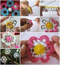 Tab Flowers Using Crochet floral diy crochet diy crafts do it yourself Pop Top Crochet, Crochet Simple, Crochet Buttons, Soda Tab Crafts, Can Tab Crafts, Diy Crafts, Crochet Flower Patterns, Crochet Flowers, Crochet Daisy