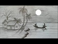 How to draw moonlit night with pencil step by step hashtags Pencil Sketches Landscape, Pencil Drawings Of Nature, Art Drawings Sketches Simple, Landscape Drawings, Realistic Drawings, Easy Drawings, Drawing With Pencil, 3d Pencil Sketches, Drawing Step