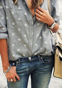 Polkadots and denim. Love the combo with shirt/jeans the watch and bag.