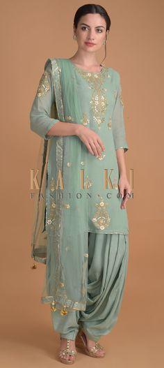 Spruce Green Salwar Suit With Floral Embroidered Neckline And Buttis Online – Kalki Fashion Party Wear Indian Dresses, Salwar Suits Party Wear, Dress Indian Style, Indian Outfits, Patiala Salwar Suits, Wedding Salwar Suits, Sharara Suit, Churidar, Wedding Suits